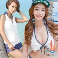 SANQI三奇 亮眼層次 三件式鋼圈比基尼泳衣(白L) SQ88063