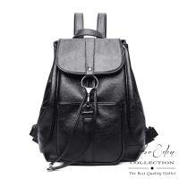 DF Flor Eden - 率性質感單色抽繩式牛皮後背包-黑色