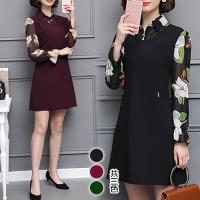 KW韓國. 秋冬回眸一笑雪紡拼接秀麗洋裝
