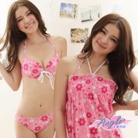 天使霓裳 涼夏女孩 三件式鋼圈比基尼泳衣(共兩色M,L) RH12810