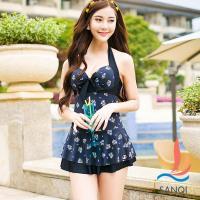 SANQI三奇 淡雅花飾 一件式鋼圈連身泳衣(黑M~XL) SQ88110