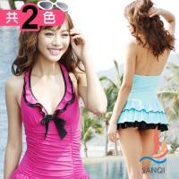 SANQI三奇 亮彩情懷 一件式連身泳衣(共兩色M~XL) SQ88033