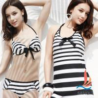 SANQI三奇 盛夏好感 三件式鋼圈比基尼泳裝 泳衣(黑L,XL) SQ13058