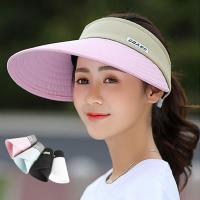 活力揚邑 寬大帽檐防曬可捲收抗UV空頂遮陽帽-淺藍、粉、深藍、黑、白-5色可選
