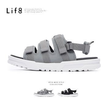 Life8-Sport 2way 潛水布涼拖鞋-黑色/灰色-09884