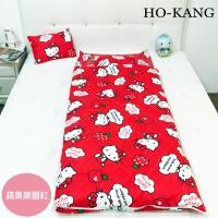HO KANG 三麗鷗授權 冬夏鋪棉兩用兒童睡袋 加大款- 蘋果樂園-紅