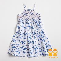 LOVEDO-艾唯多童裝 戀戀蝴蝶 可愛細肩帶小洋裝(白藍) GSH13103
