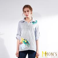 MONS立體修身質感條紋造型上衣