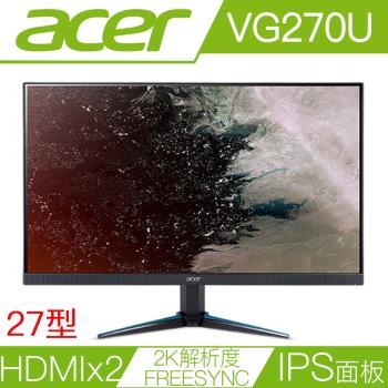 ACER宏碁 VG270U 27型IPS面板2K解析度FreeSync電競液晶螢幕