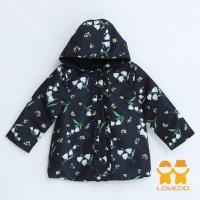 LOVEDO-艾唯多童裝 迷人小花 連帽防水風衣外套(深藍) JJ02