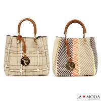La Moda 編織風格可拆式2WAY手提肩背子母包(共2色)