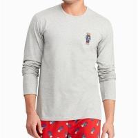 Ralph Lauren 男時尚小熊刺繡灰色圓領棉長袖睡衣