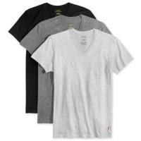 Ralph Lauren 男時尚馬球黑灰色短袖V領內衣混搭3件組