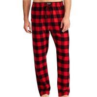 Ralph Lauren 男時尚馬球法蘭絨紅黑格子長睡褲