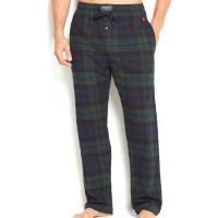 Ralph Lauren 男時尚馬球法蘭絨墨綠格子長睡褲