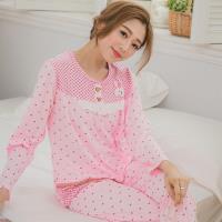 lingling日系 小兔貼布牛奶絲格紋二件式睡衣組(共二色,全尺碼)