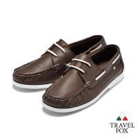Travel Fox(男)  我的天空 超軟苯染牛皮二孔經典親膚帆船鞋 - 經典咖