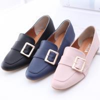 ZUCCA【z6506】金屬扣面尖頭紳士鞋-藍色/黑色/粉色