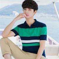 Jimmy Wang   純棉藍白綠條紋POLO衫