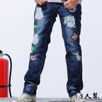 男人幫-K0397*韓國同步流行刷破款窄版布標破壞中直筒小直筒牛仔褲潮流