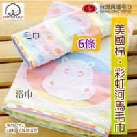 美國棉彩虹和馬提花毛巾 (6條裝  家庭號)   台灣興隆毛巾製  親膚性佳