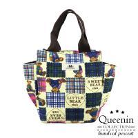 DF Queenin流行 - 女孩最愛泰迪熊印花手提包-共2色