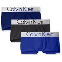 CK 2018男時尚彈力纖維藍黑色四角內著混搭3件組