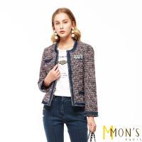 MONS知性時尚小香風結合牛仔經典毛呢外套