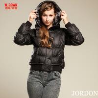 JORDON  女款特殊米其林袖設計連帽羽絨外套 新潮時尚