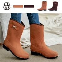 【88%】雨靴-MIT台灣製防水麂皮絨面 舒適好穿3cm輕量化防滑膠底雨靴 雨鞋 中筒靴