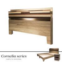 【obis】Cornelia卡蓮娜5尺附燈床頭片(2色)白色/梧桐色