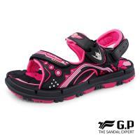 G.P 兒童透氣舒適磁扣兩用涼拖鞋G8671B-黑桃色(SIZE:31-35 共三色)