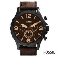 FOSSIL 曠野追蹤三眼計時真皮腕錶(JR1487)-黑鋼x咖啡/50mm