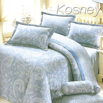 KOSNEY  藍情意  頂級加大活性精梳棉六件式床罩組台灣製