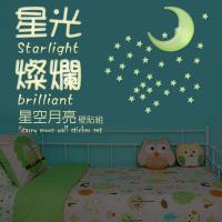 2組 精裝版3D星彩夜光牆貼/50顆星星+1月亮/組 金德恩 台灣製造