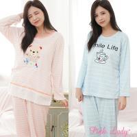 PINK LADY 條紋棉柔長袖成套睡衣 2套組 (290-3+2715)