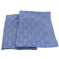 GUCCI 165903 雙G緹花羊毛絲綢披肩圍巾/大絲巾.藍紫