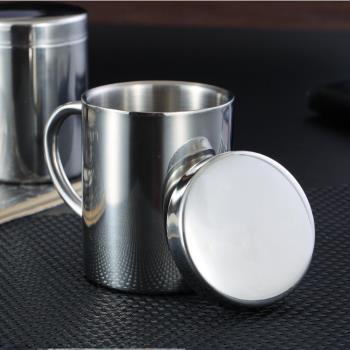 PUSH!廚房用品304不鏽鋼帶蓋雙層飲水杯兒童杯E118