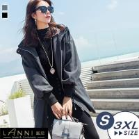 LANNI 藍尼-韓版寬鬆縮腰毛呢長版連帽外套 S-2XL (2色)