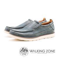 WALKING ZONE 英倫真皮輕量懶人鞋 男鞋-藍(另有咖)