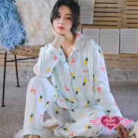 天使霓裳 夏日火鶴 二件式長袖孕婦哺乳套裝月子服(綠F) CT151