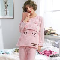 天使霓裳 凱蒂甜心 法蘭絨二件式長袖孕婦哺乳套裝月子服(粉F) CT150