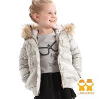 LOVEDO-艾唯多童裝 蜜糖點點 保暖毛毛連帽鋪棉外套(銀) J1102314