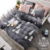 AGAPE亞加‧貝 秘密森林 法蘭絨 雙人加大6尺四件式兩用被毯床包組