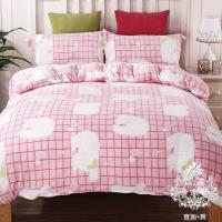 AGAPE亞加‧貝 熊粉格格 法蘭絨標準雙人5尺四件式兩用被毯床包組