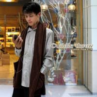 棉花田 樂邁 超細纖維創意保暖圍巾-可可色(46X190cm)