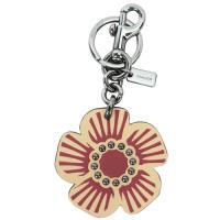 COACH 專櫃款皮革花朵掛飾/鑰匙圈(駝)