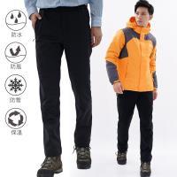 【遊遍天下】 GLOBETEX男款顯瘦防水防風透濕刷毛褲雪褲GP20007黑色