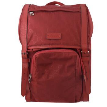 GUCCI 510336 雙G緹花緞面尼龍束口翻蓋後背包.紅