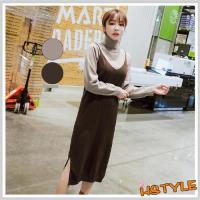 連身裙 兩件式開叉針織長袖洋裝GW10510-創翊韓都